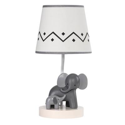 Lambs & Ivy Me & Mama White/Gray Elephant Nursery Lamp with Shade & Bulb