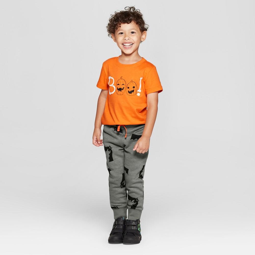 Toddler Boys' Boo! T-Shirt and Jogger Set - Cat & Jack Orange/Gray 12M