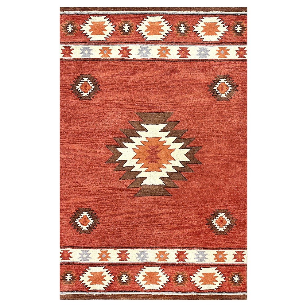 Brown Abstract Tufted Runner - (2'6x12') - nuLOOM, Red