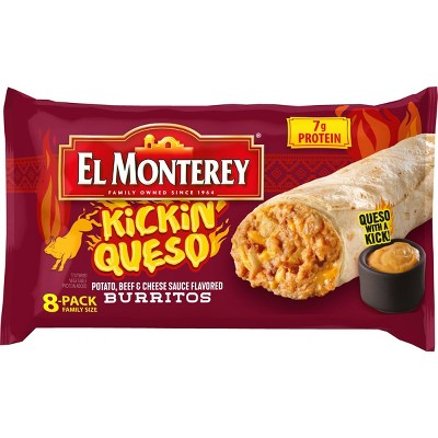 El Monterey Kickin Queso Frozen Burritos Family Pack - 8ct