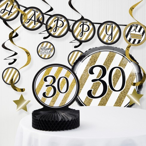 30th Birthday Decorations Kit Black Gold