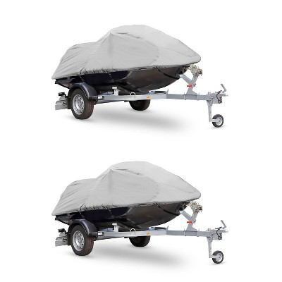 Pyle PCVJS13 Armor Shield Universal Heavy Duty Waterproof Canvas 127 to 138 Inch Jetski Trailer Storage Cover for Jet Skis and Watercrafts (2 Pack)