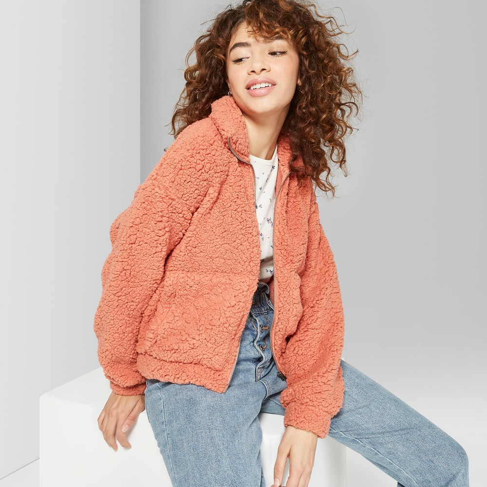Women's Zip-Up Sherpa Jacket - Wild Fable Calm Orange XS