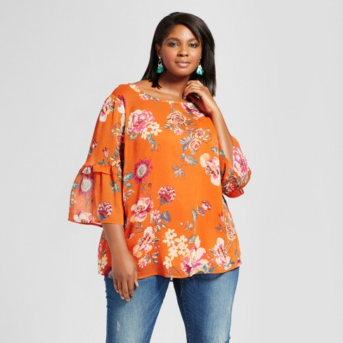 1b56a0ee95ab Women's Plus Size Bell Sleeve Floral Top - Ava & Viv™ Orange : Target