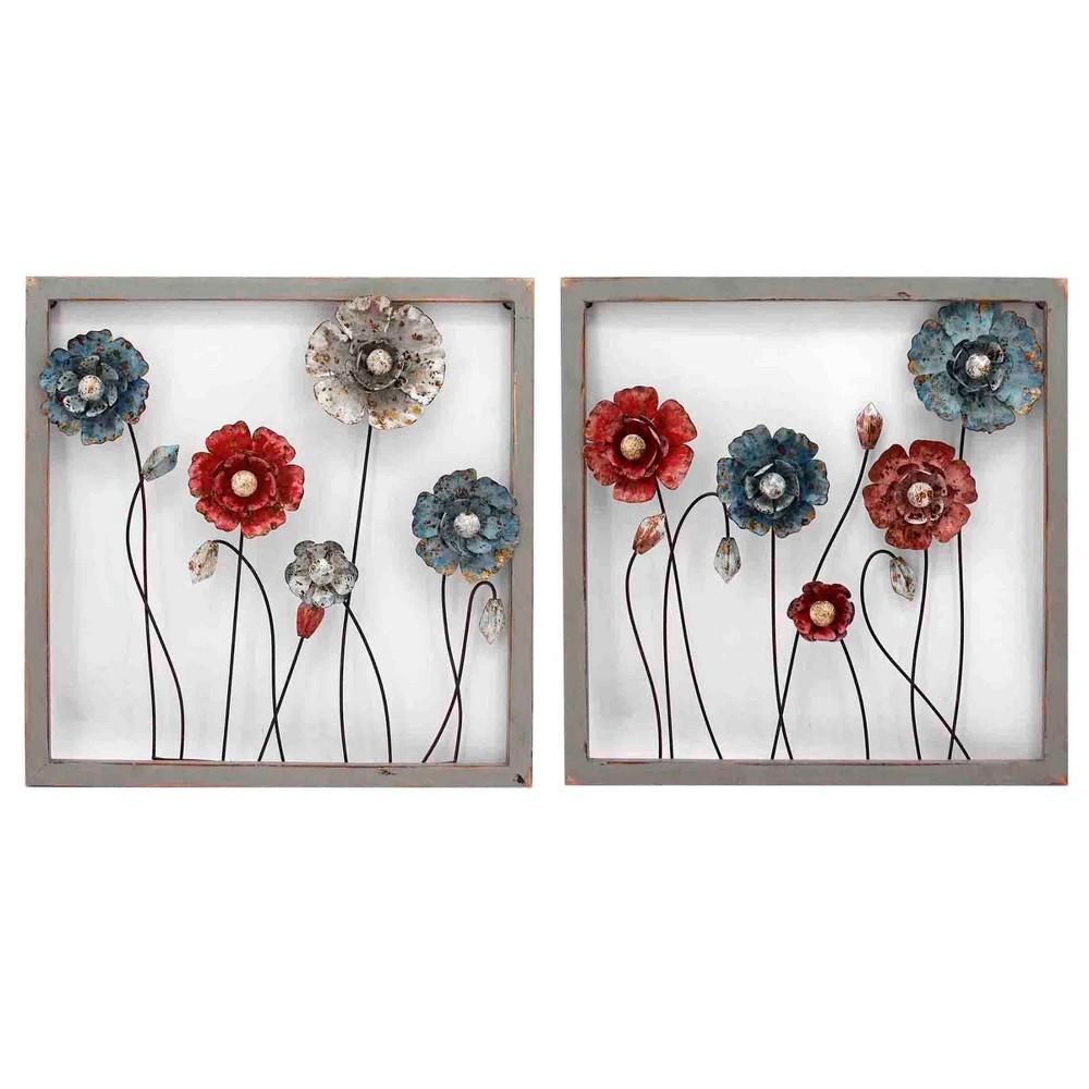 23.6 2pc Framed Botanical Il Decorative Wall Art Red - StyleCraft