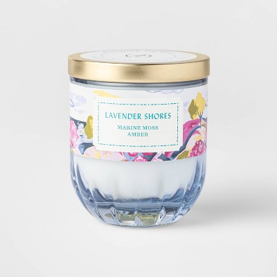 7oz Lidded Blue Ribbed Based Glass Jar Lavender Shores Candle - Opalhouse™