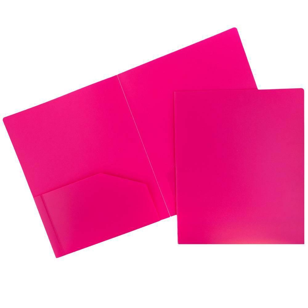 Image of 6pk 2 Pocket Heavy Duty Plastic Folder Fuchsia - JAM Paper