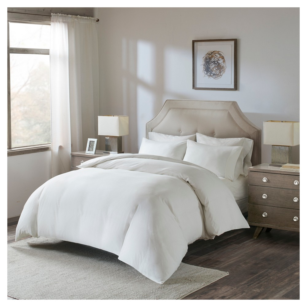 White Luxury Cotton Percale Duvet Cover Set with Fitted Sheet (King)