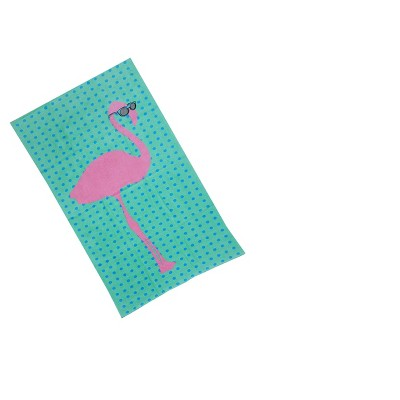 Flamingo Beach Towel Green