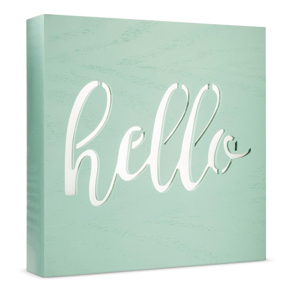 Led Light Box Hello - Cloud Island - Mint