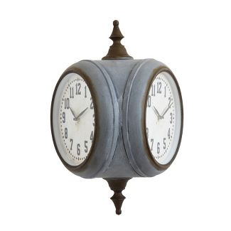 Metal Double Sided Wall Clock Silver/Gray - Creative Co-Op