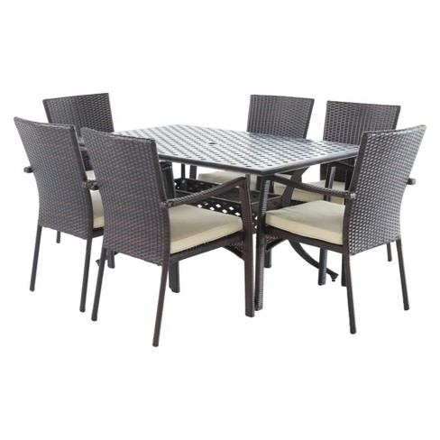 Solomon 7pc Rectangle Metal Patio Dining Set w/ All-Weather Wicker Chairs - Shiny Copper/Brown - Christopher Knight Home - image 1 of 4