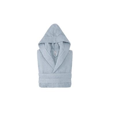 Hooded Turkish 100% Cotton Bathrobe Blue - Enchante Home