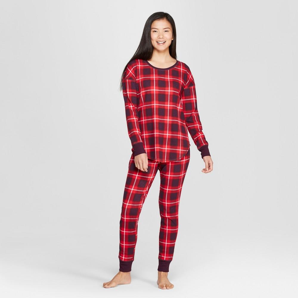 Women's Plaid Thermal Pajama Set Purple S