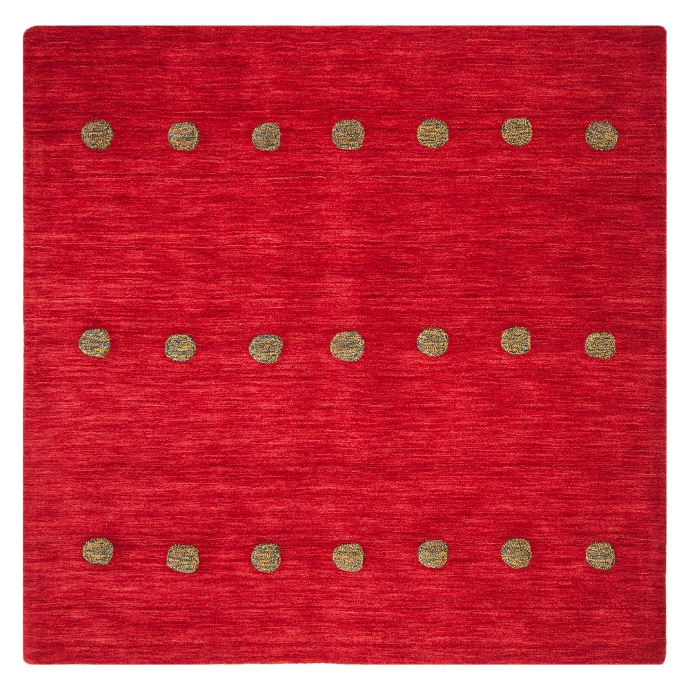 6'X6' Polka Dots Loomed Square Area Rug Red - Safavieh