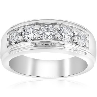 Pompeii3 1 ct Mens Diamond Five Stone Wedding Ring 10k White Gold