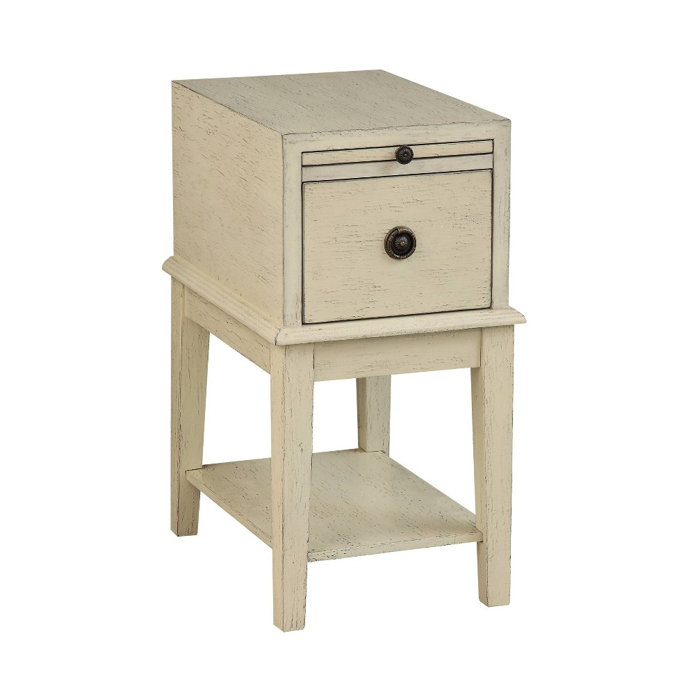 West Palm 1 Drawer Chairside Table Ivory - Treasure Trove