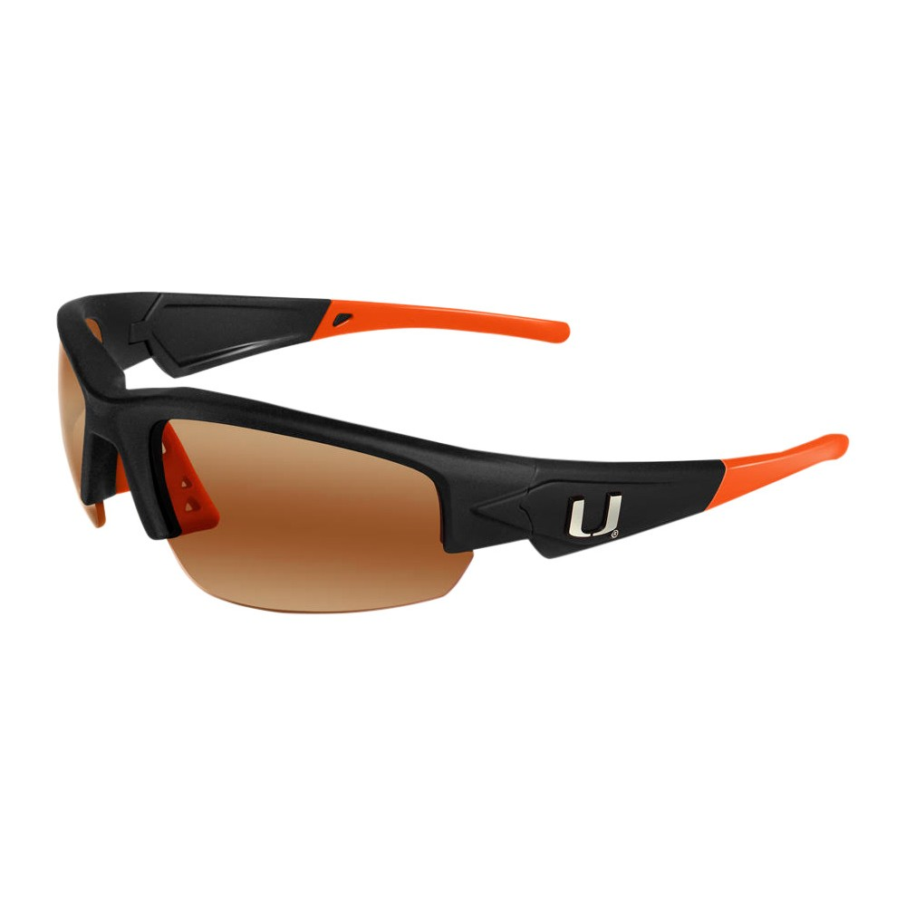 Miami Hurricanes Dynasty 2.0 Sunglasses, Adult Unisex The Miami Hurricanes Dynasty 2.0 is a sports frame sunglass for men and women of all ages. This sleek sunglass features Black Frame with Team Colored Tips and a HD Polarized lens. Raised metal Miami Hurricanes logos on each temple round out this Team first sunglass while allowing no peripheral distortion for all outdoor activities. Gender: Unisex. Age Group: Adult. Pattern: Solid.