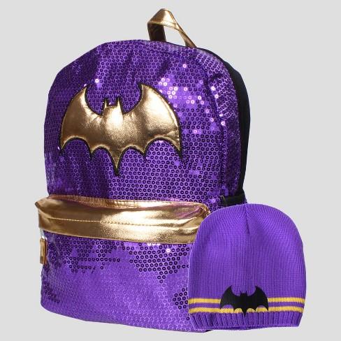 "DC Comics® Batman 16"" Kids' Backpack with GWP Beanie - Purple - image 1 of 5"