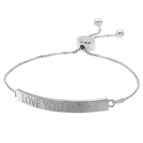"Adjustable Bracelet with Clear CZ and ""Love You More"" Bar in Silver Plate - Clear/Gray (9.5"") - image 1 of 1"