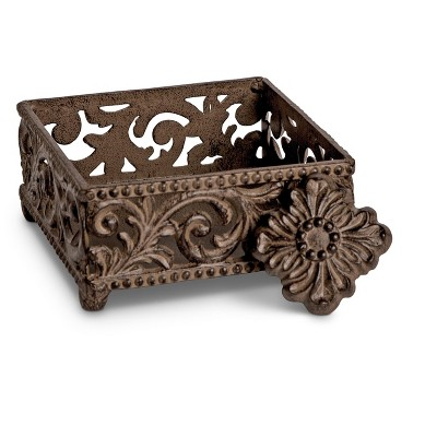GG Collection Metal Cocktail Napkin Holder With Acanthus Leaf Motif