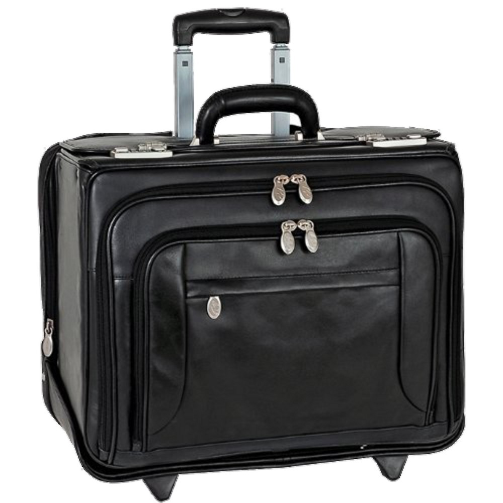 McKlein Sheridan 15 Leather Patented Detachable - Wheeled Catalog Briefcase (Black)