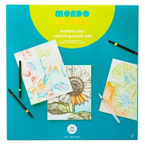 24pg Watercolor Coloring Book Set Floral and Fauna - Mondo Llama™ - image 1 of 4
