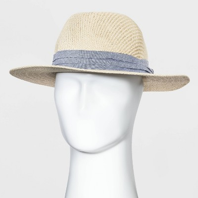Men's Panama Straw Hat with Chambray Band - Goodfellow & Co™ Natural L/XL