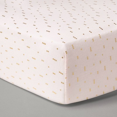 Fitted Crib Sheet Muslin Pink Dots - Cloud Island™ Pink