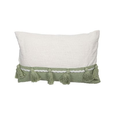 White and Green 14 x 22 inch Decorative Cotton Throw Pillow Cover with Insert and Hand Tied Tassels - Foreside Home & Garden