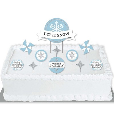 Big Dot of Happiness Winter Wonderland - Snowflake Holiday Party and Winter Wedding Cake Decorating Kit - Let It Snow Cake Topper Set - 11 Pieces