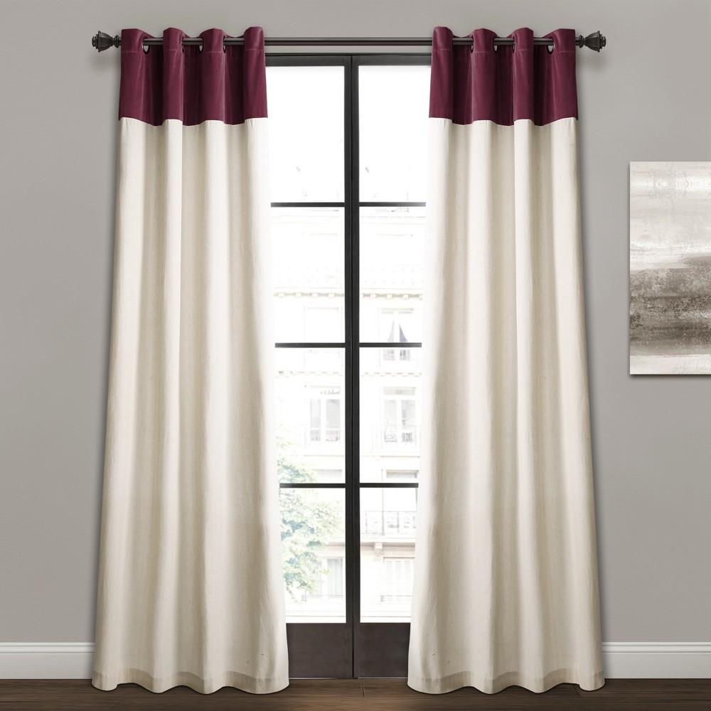 """84""""x52"""" Milo Linen Window Curtain Panels Purple/Off White -Lush Décor"""