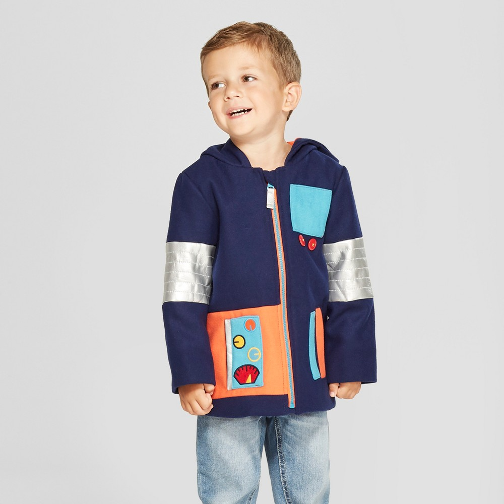 Toddler Boys' Robot Faux Wool Overcoat - Cat & Jack Blue 2T