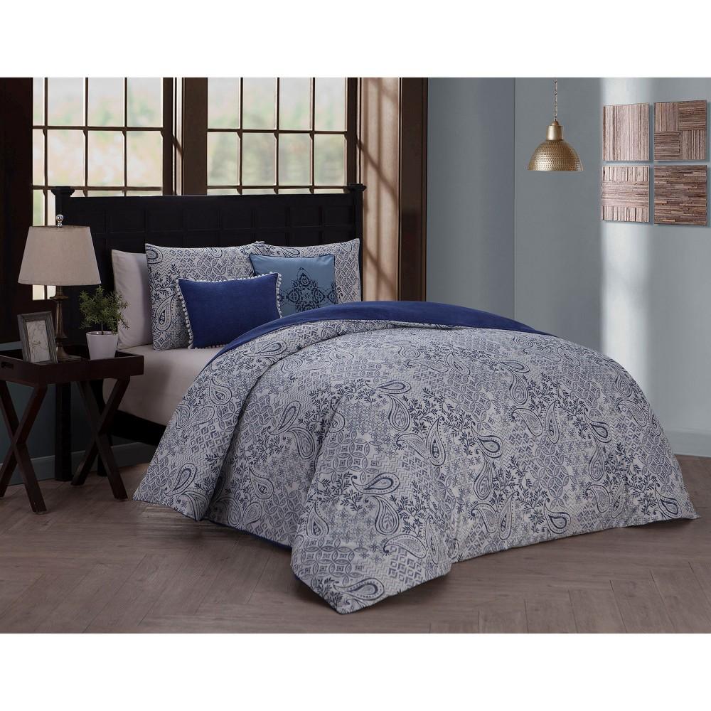 Image of 5pc King Fresco Duvet Cover Set Blue - Avondale Manor