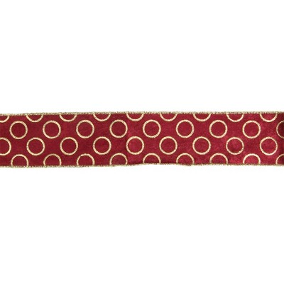 "Northlight Red and Gold Circle Wired Christmas Craft Ribbon 2.5"" x 16 Yards"