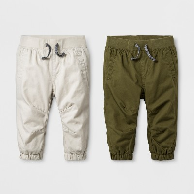Baby Boys' Twill Joggers Set - Cat & Jack™ Tan/Green 0-3M