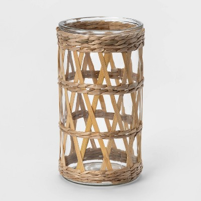 "9"" Bamboo and Straw Outdoor Lantern with Glass - Opalhouse™"