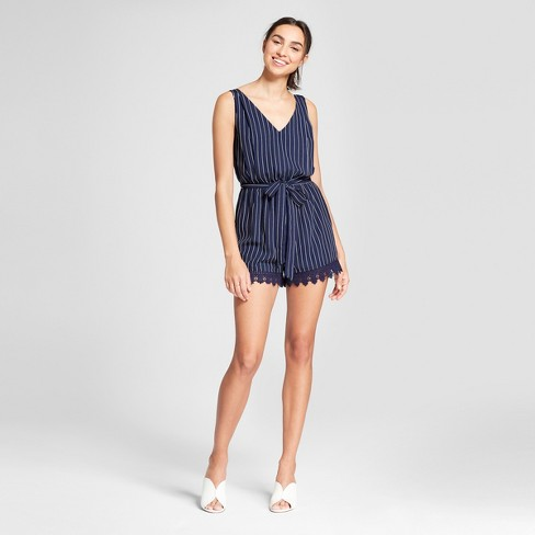 Women's Striped Lace Trim Dress with Tie Waist - Eclair Navy - image 1 of 2