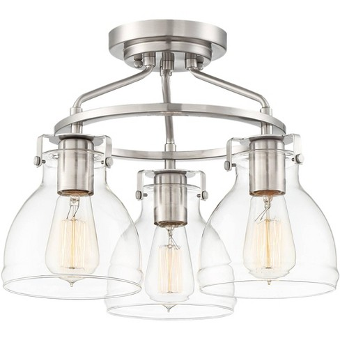 Possini Euro Design Industrial Ceiling Light Semi Flush Mount Fixture Brushed Nickel 14 1 2 Wide 3 Light Clear Glass For Bedroom Target