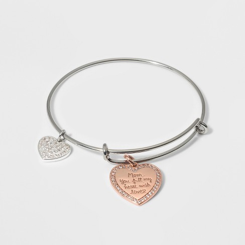 Stainless Steel Mom You Fill My Heart With Love Bangle Bracelet - Silver/Rose Gold - image 1 of 1