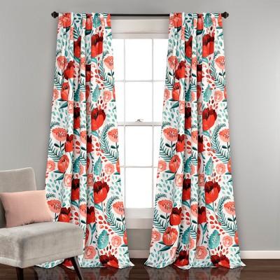 Poppy Garden Room Darkening Window Curtain Panels Multi 52 X84  Set - Lush Decor