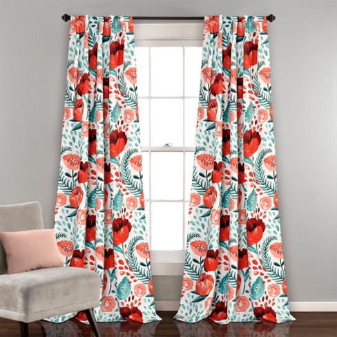 Poppy Garden Room Darkening Window Curtain Panels Set - Lush Decor - image 1 of 3