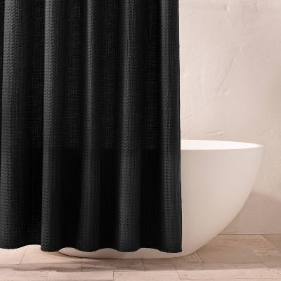 Waffle Shower Curtain Washed Black - Casaluna™