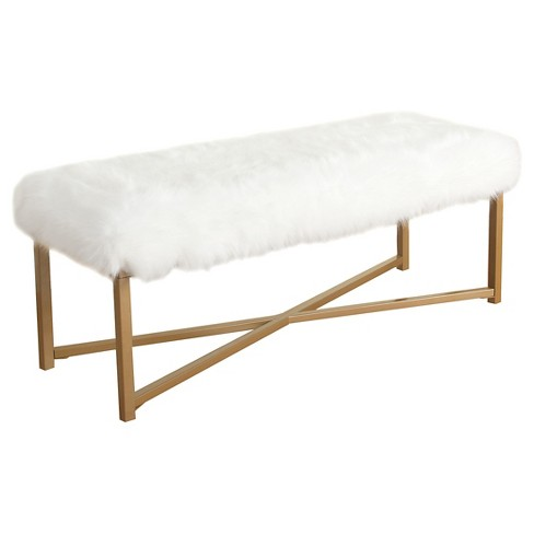 Pleasing Faux Fur White Rectangle Bench Homepop Squirreltailoven Fun Painted Chair Ideas Images Squirreltailovenorg