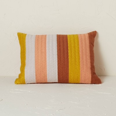 Striped Chevron Embroidered Lumbar Throw Pillow - Opalhouse™ designed with Jungalow™