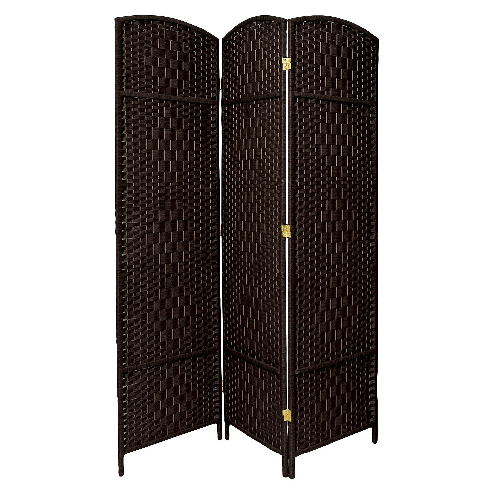 Oriental 7 ft. Tall Diamond Weave Room Divider - Black (3 Panels)