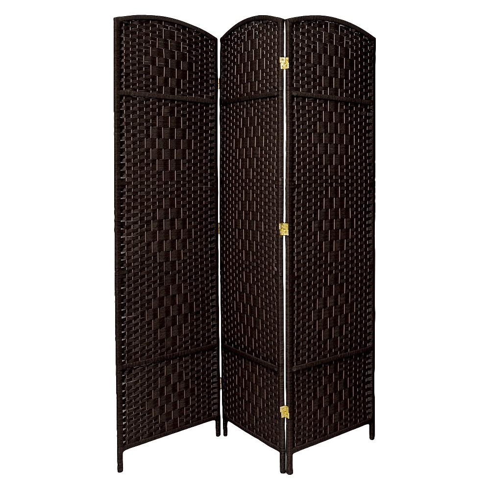 7 ft. Tall Diamond Weave Room Divider - Black (3 Panels)