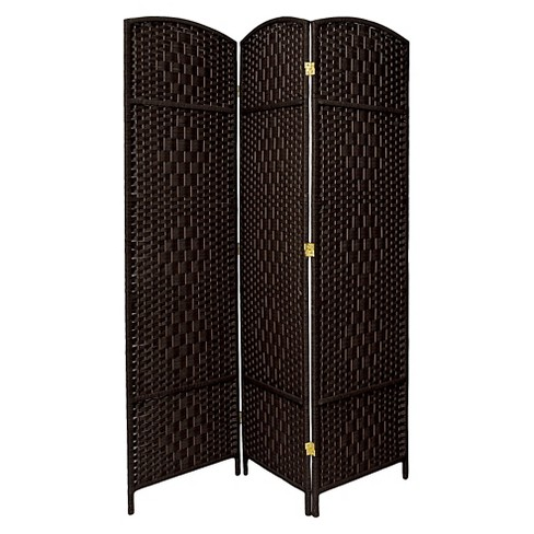 7 ft. Tall Diamond Weave Room Divider - Black (3 Panels) - image 1 of 1