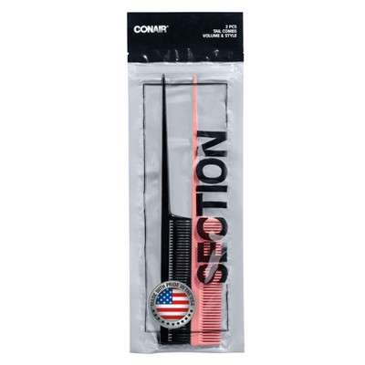 Conair Tail Combs Made in the USA - 2pc
