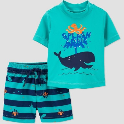Baby Boys' Whale Print Short Sleeve Rash Guard Set - Just One You® made by carter's Aqua